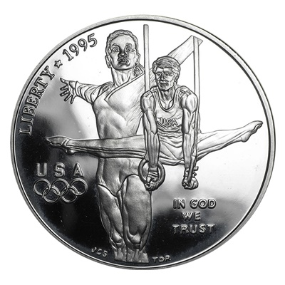 1995 Olympic Gymnastics Silver Proof $1 (Capsule)