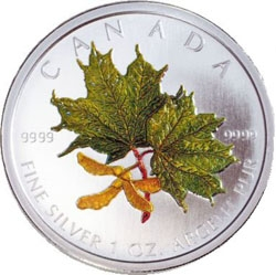 2002 Silver Maple Leaf Coloured Coin - Spring
