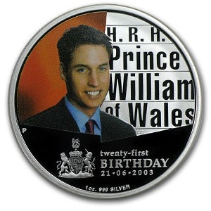2003 $1 Silver Proof H.R.H Prince William 21st Birthday Coin