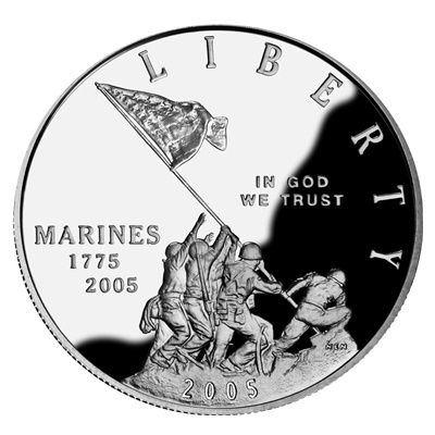 2005 Marine Corps Silver Proof $1 (Capsule)