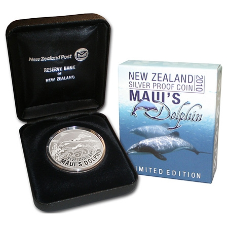2010 Maui's Dolphin $5 Silver Proof Coin