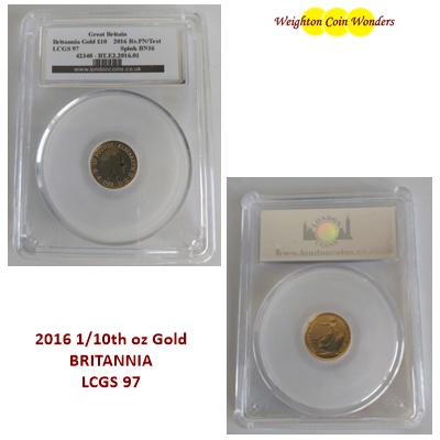 2016 1/10th oz Gold BRITANNIA - CGS 97
